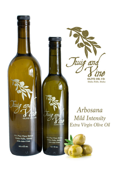 Arbosana Mild Intensity Extra Virgin Olive Oil available at Love At First Bite Mercantile in Idaho Falls, Idaho | Twig & Vine Olive Oil Co.