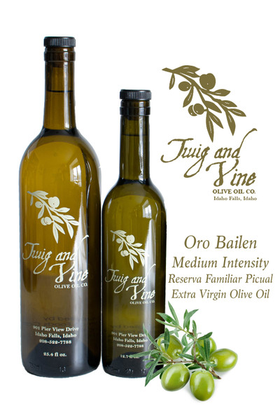 Oro Bailen Reserva Familiar Picual Medium Intensity Extra Virgin Olive Oil available at Love At First Bite Mercantile in Idaho Falls, Idaho   Twig & Vine Olive Oil Co.
