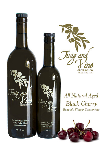 All Natural Aged Black Cherry Balsamic Vinegar available at Love At First Bite Mercantile in Idaho Falls, Idaho | Twig & Vine Olive Oil Co.
