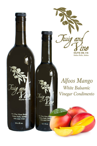 Alfoos Mango White Balsamic Vinegar Condimento available at Love At First Bite Mercantile in Idaho Falls, Idaho | Twig & Vine Olive Oil Co.