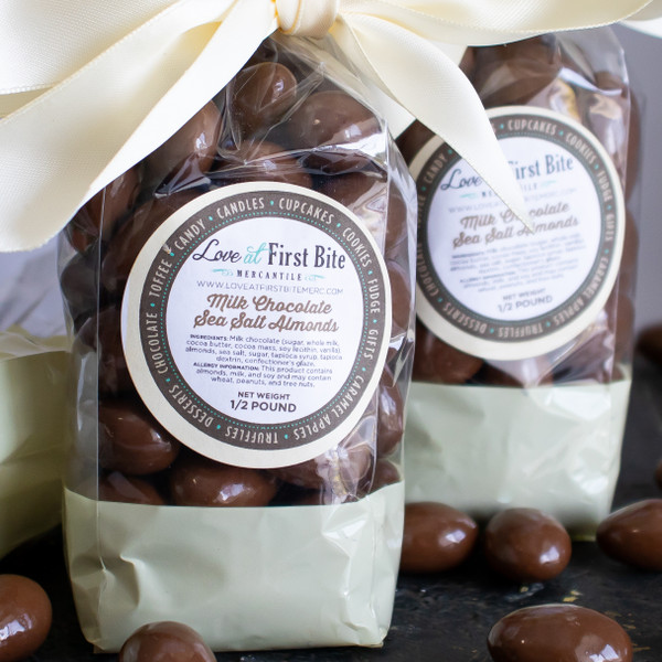 Milk Chocolate Sea Salt Almonds at Love At First Bite Mercantile in Idaho Falls, Idaho
