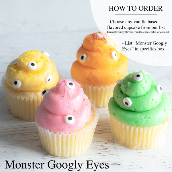Halloween Monster Googly Eyes Mini Cupcakes at Love At First Bite Mercantile in Idaho Falls, Idaho