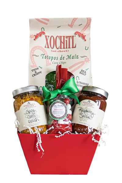 Holiday Man Gift Basket with Chips & Salsa available at Love At First Bite Mercantile in Idaho Falls, Idaho