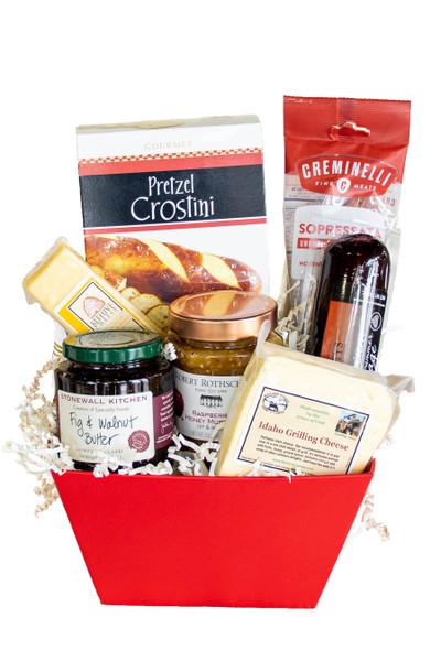 Salami & Cheese Holiday Gift Basket available at Love At First Bite Mercantile in Idaho Falls, Idaho