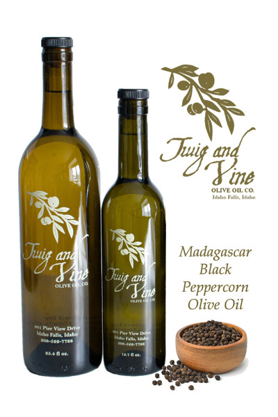 Madagascar Black Peppercorn Infused Olive Oil available at Love At First Bite Mercantile in Idaho Falls, Idaho | Twig & Vine Olive Oil Co.