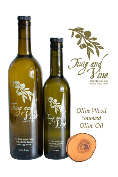 Olive Wood Smoked Infused Olive Oil available at Love At First Bite Mercantile in Idaho Falls, Idaho | Twig & Vine Olive Oil Co.