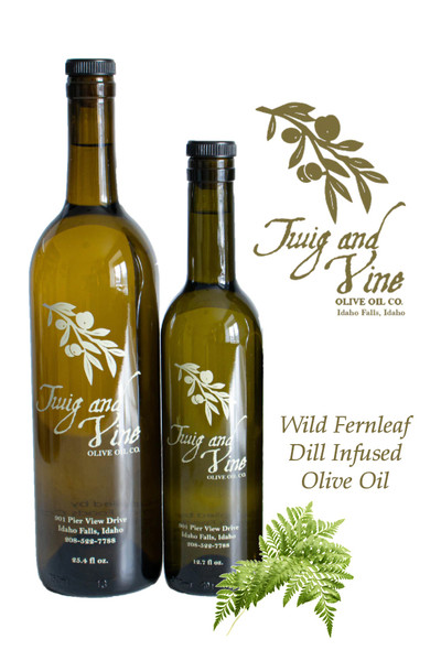 Wild Fernleaf Dill Infused Olive Oil available at Love At First Bite Mercantile in Idaho Falls, Idaho | Twig & Vine Olive Oil Co.
