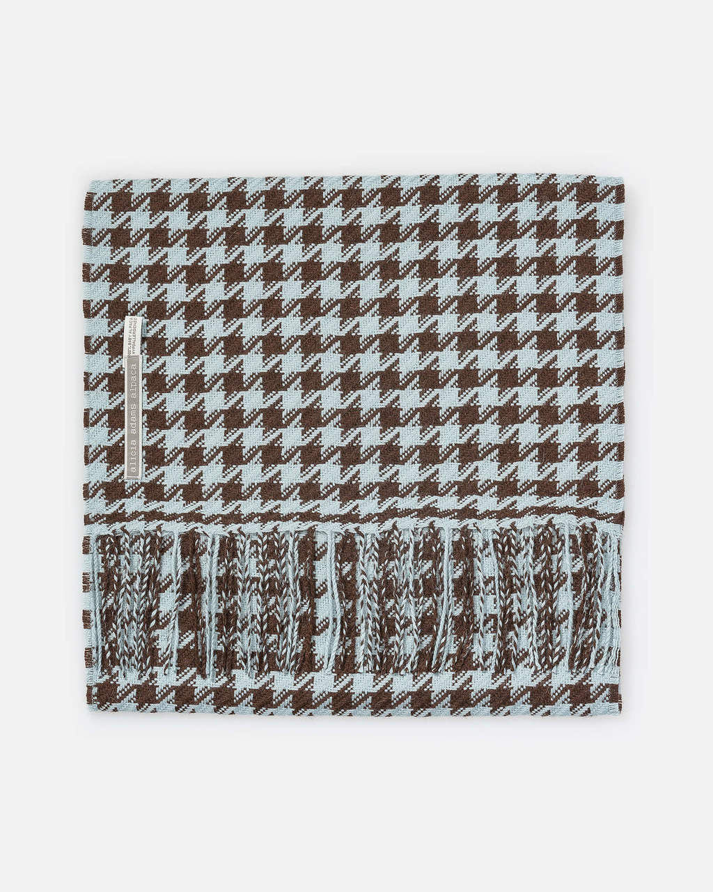 Alicia Adams Alpaca Houndstooth Scarf, alpaca scarf, 100 alpaca scarf, alpaca scarf mens, alpaca vs cashmere, light brown and light blue alpaca scarf