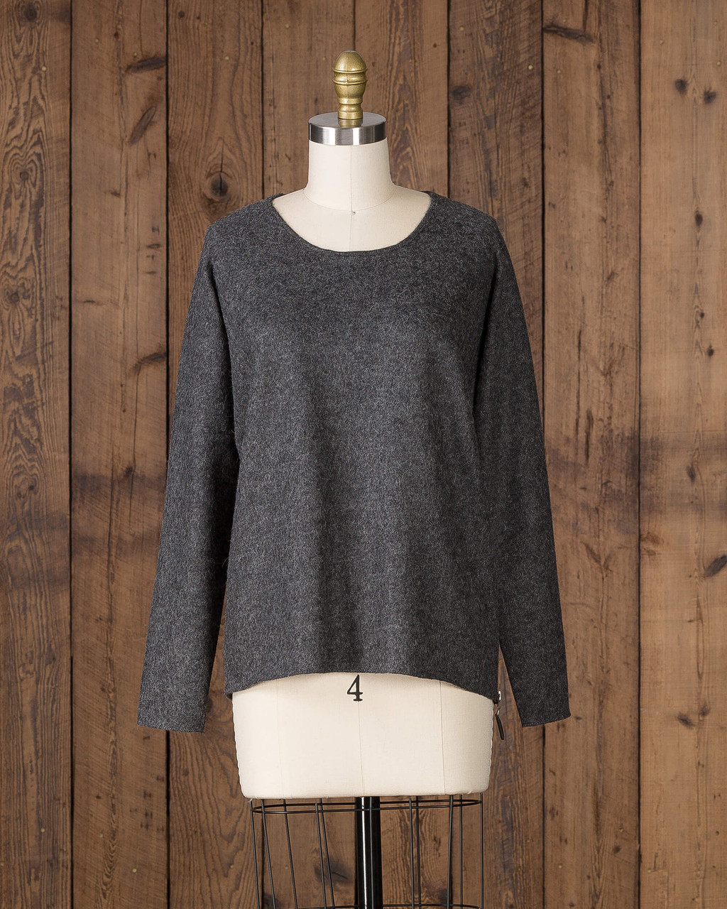 Alicia Adams Alpaca Verbier Side Zip, alpaca sweaters womens, alpaca clothing, baby alpaca sweater, alpaca vs cashmere, charcoal grey alpaca sweater