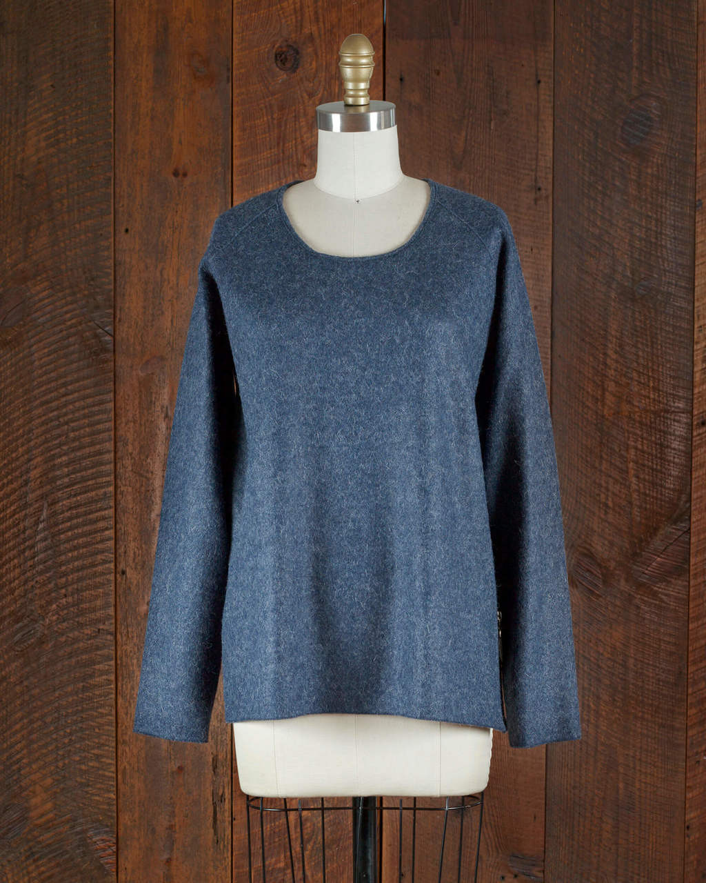 Alicia Adams Alpaca Verbier Side Zip, alpaca sweaters womens, alpaca clothing, baby alpaca sweater, alpaca vs cashmere, denim blue alpaca sweater