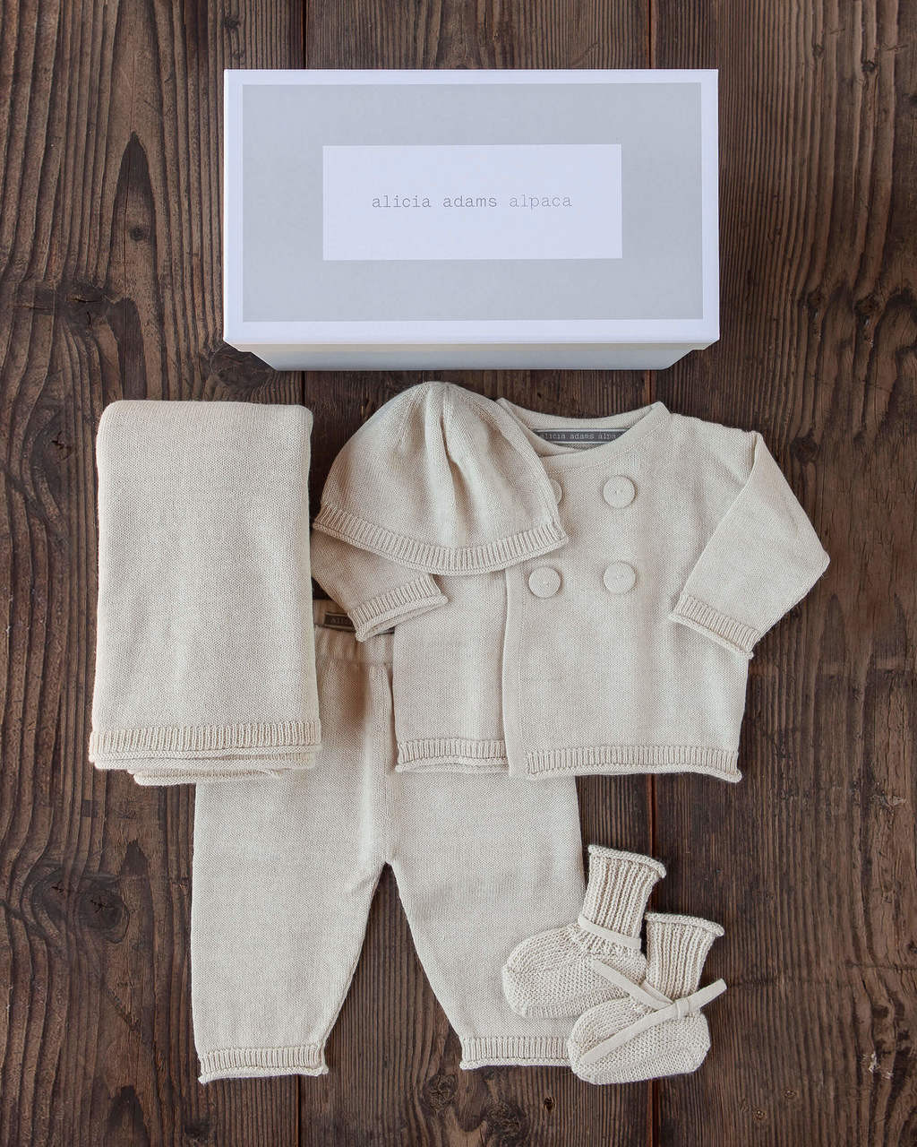 Alicia Adams Alpaca Cria Baby Set, alpaca gifts, alpaca baby clothes, alpaca hat, baby alpaca sweater, alpaca clothing, ivory alpaca baby clothing set