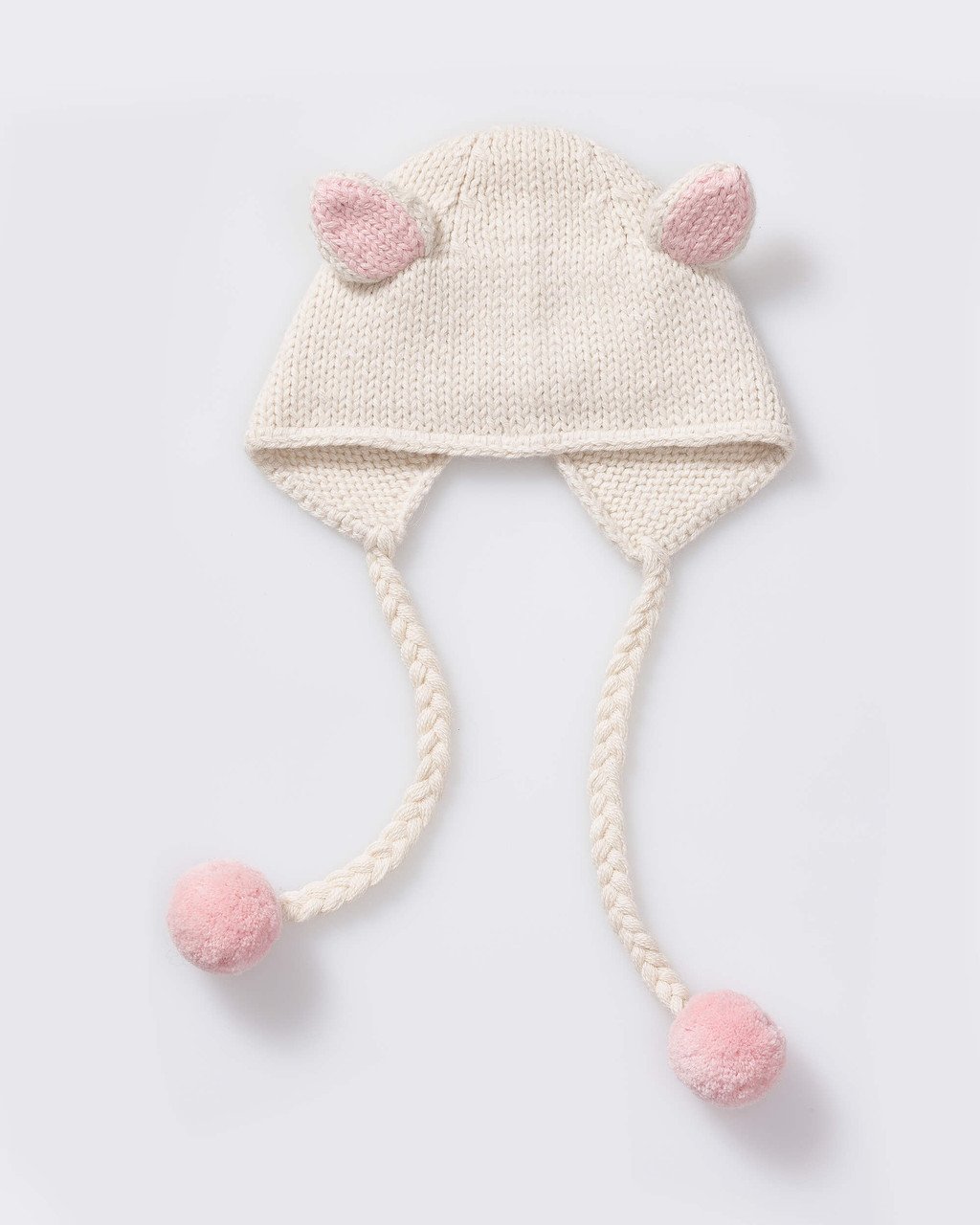Alicia Adams Alpaca Bunny Hat, alpaca baby clothes, baby alpaca hat, alpaca clothing kids, alpaca winter hats, ivory and pink powder alpaca baby hat