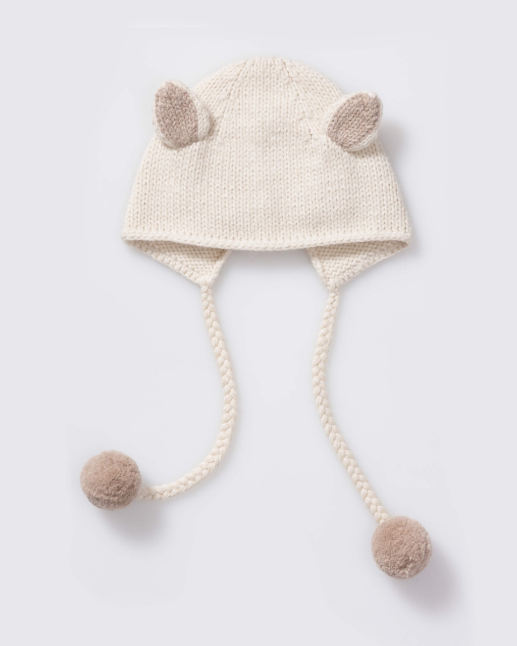 Alicia Adams Alpaca Bunny Hat, alpaca baby clothes, baby alpaca hat, alpaca clothing kids, alpaca winter hats, ivory and taupe alpaca baby hat