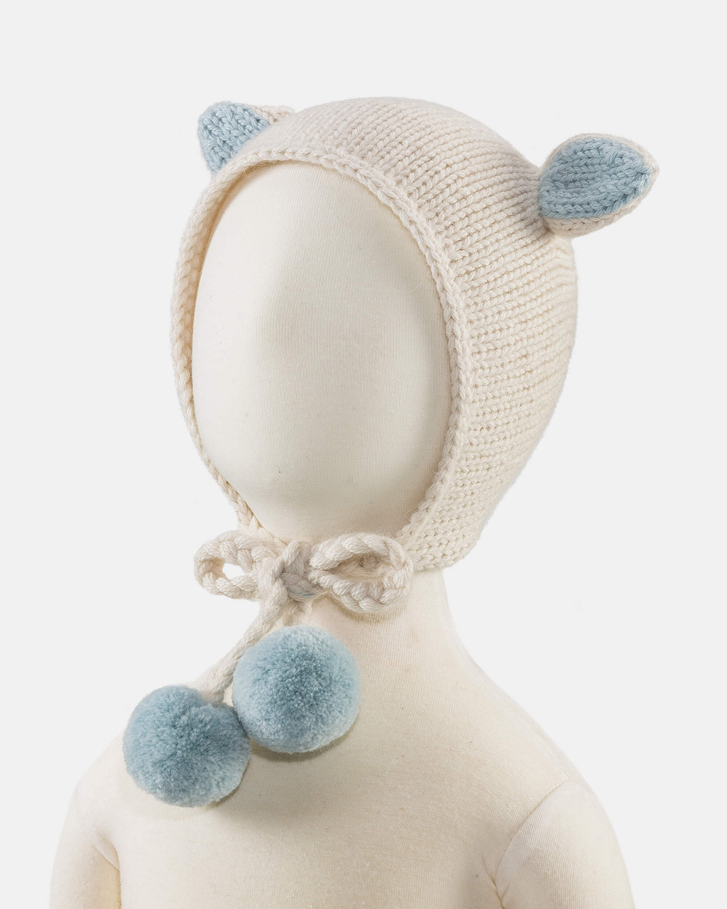 Alicia Adams Alpaca Bunny Hat, alpaca baby clothes, baby alpaca hat, alpaca clothing kids, alpaca winter hats, ivory and light blue alpaca baby hat