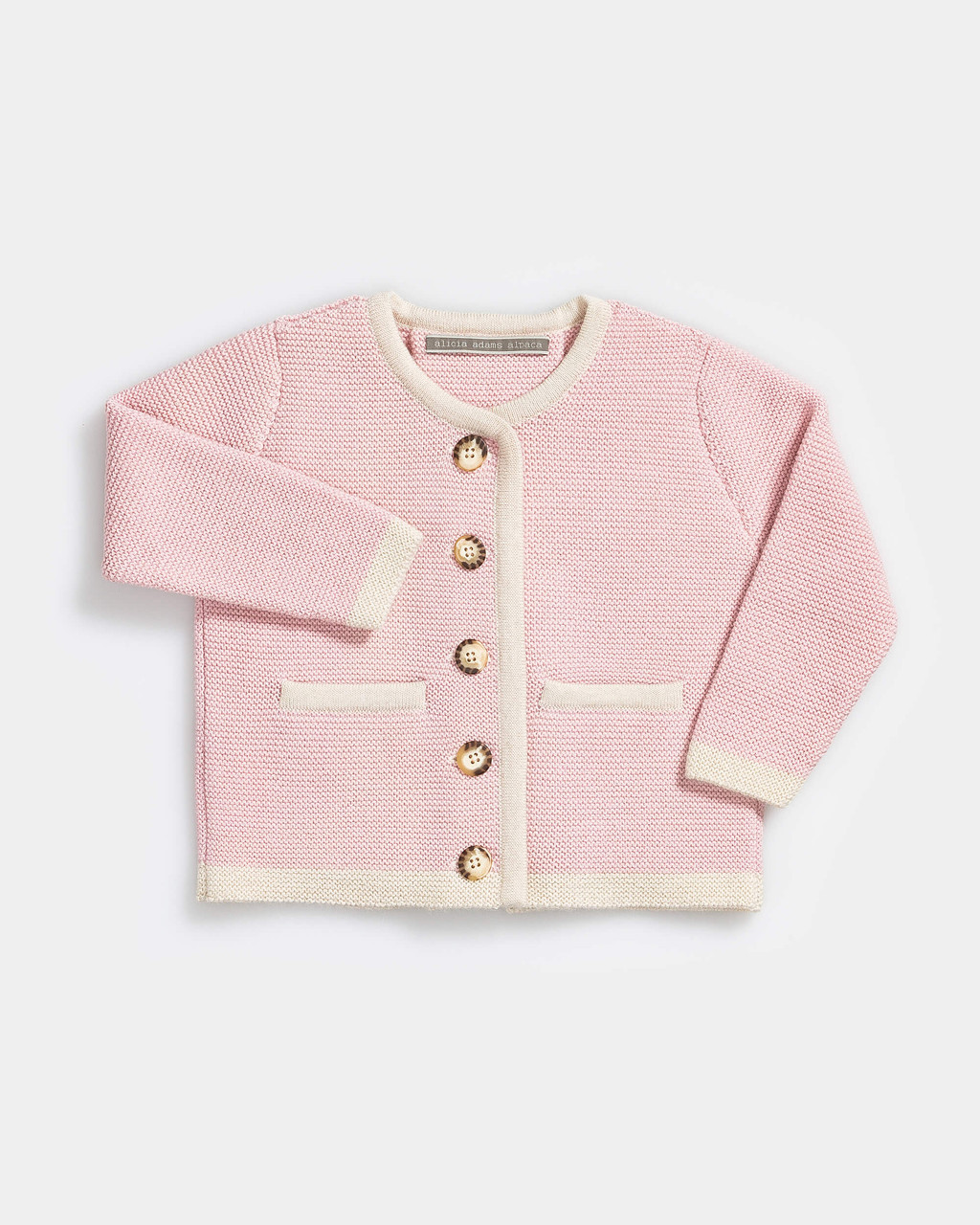 Alicia Adams Alpaca Salzburg Cardigan, alpaca baby clothes, alpaca sweater, baby alpaca sweater, alpaca clothing, light pink and ivory alpaca sweater