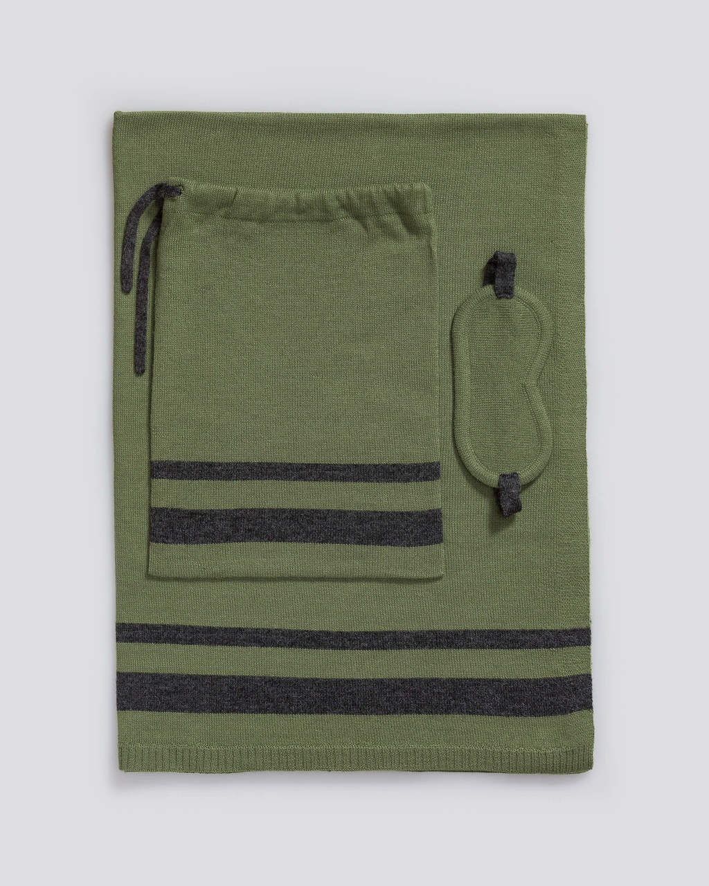 Alicia Adams Alpaca Striped Travel Set, alpaca gifts, alpaca travel blanket, airline travel kit with blanket and eye mask, hunter green and charcoal alpaca travel set