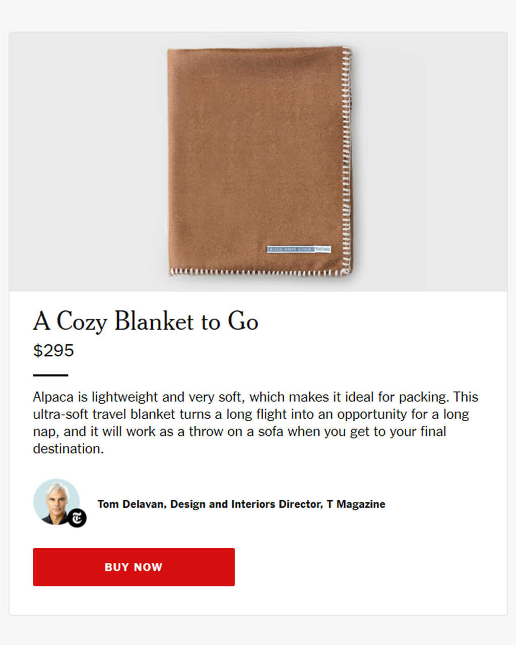 Alicia Adams Alpaca Arena Travel Blanket with contrast stitch, gift for jet-setter, gift for him, gift for graduate, airplane accessories, alpaca blanket for travel, acclaimed by Wall Street Journal, New York Times Magazine Gift Bag, in 100% baby alpaca lightweight, rich colors, all fair-trade made, sustainable, softer than cashmere, cognac/beige