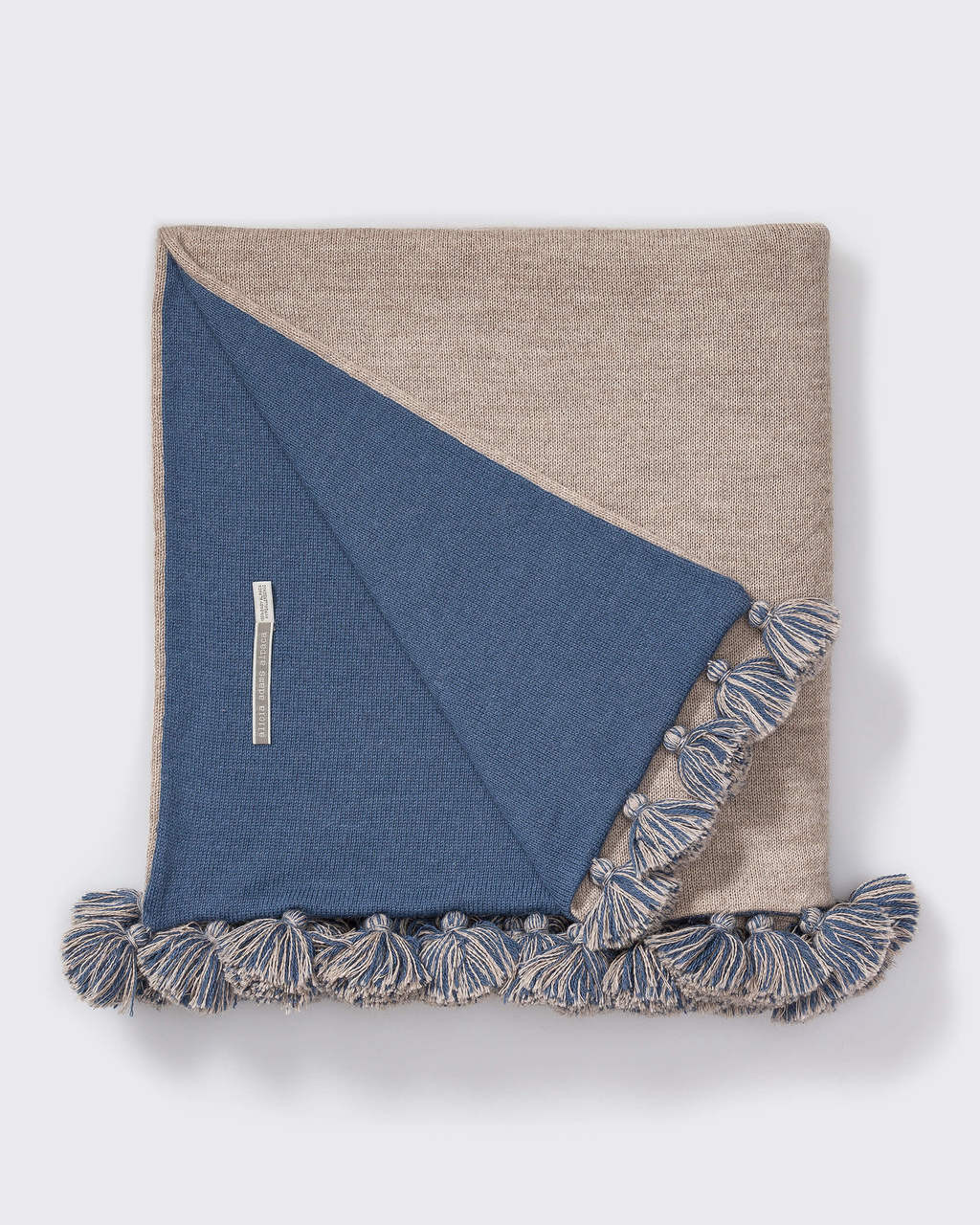 Alicia Adams Alpaca Reversible Pompom Blanket, pompom alpaca king bed blanket, alpaca throw blanket, 100 alpaca blanket, light taupe and english manor blue alpaca blanket
