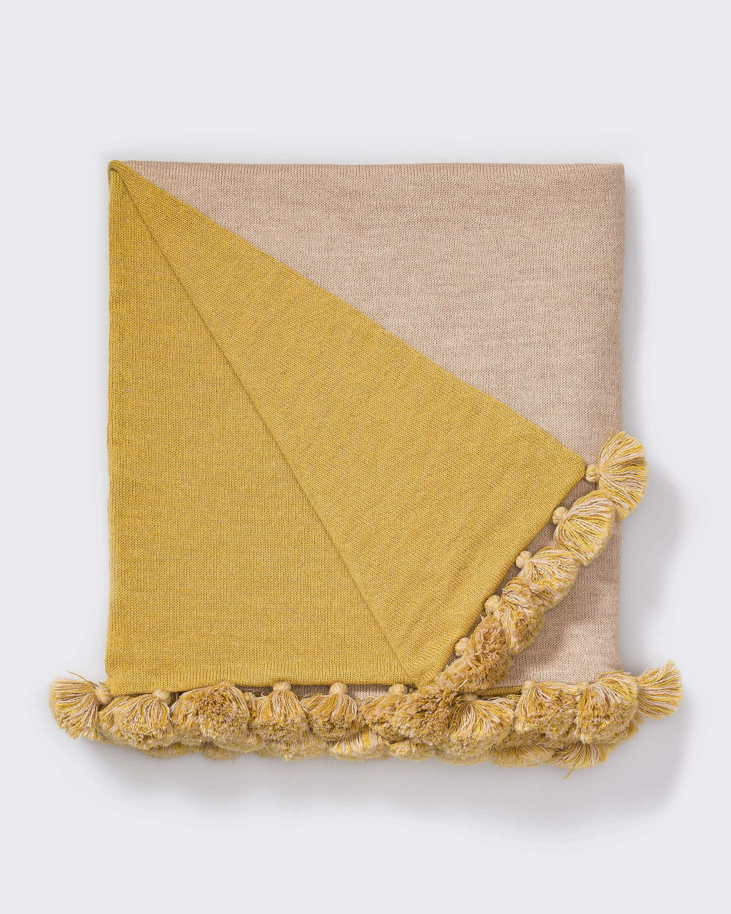 Alicia Adams Alpaca Reversible Pompom Blanket, pompom alpaca king bed blanket, alpaca throw blanket, 100 alpaca blanket, beige and french yellow alpaca blanket