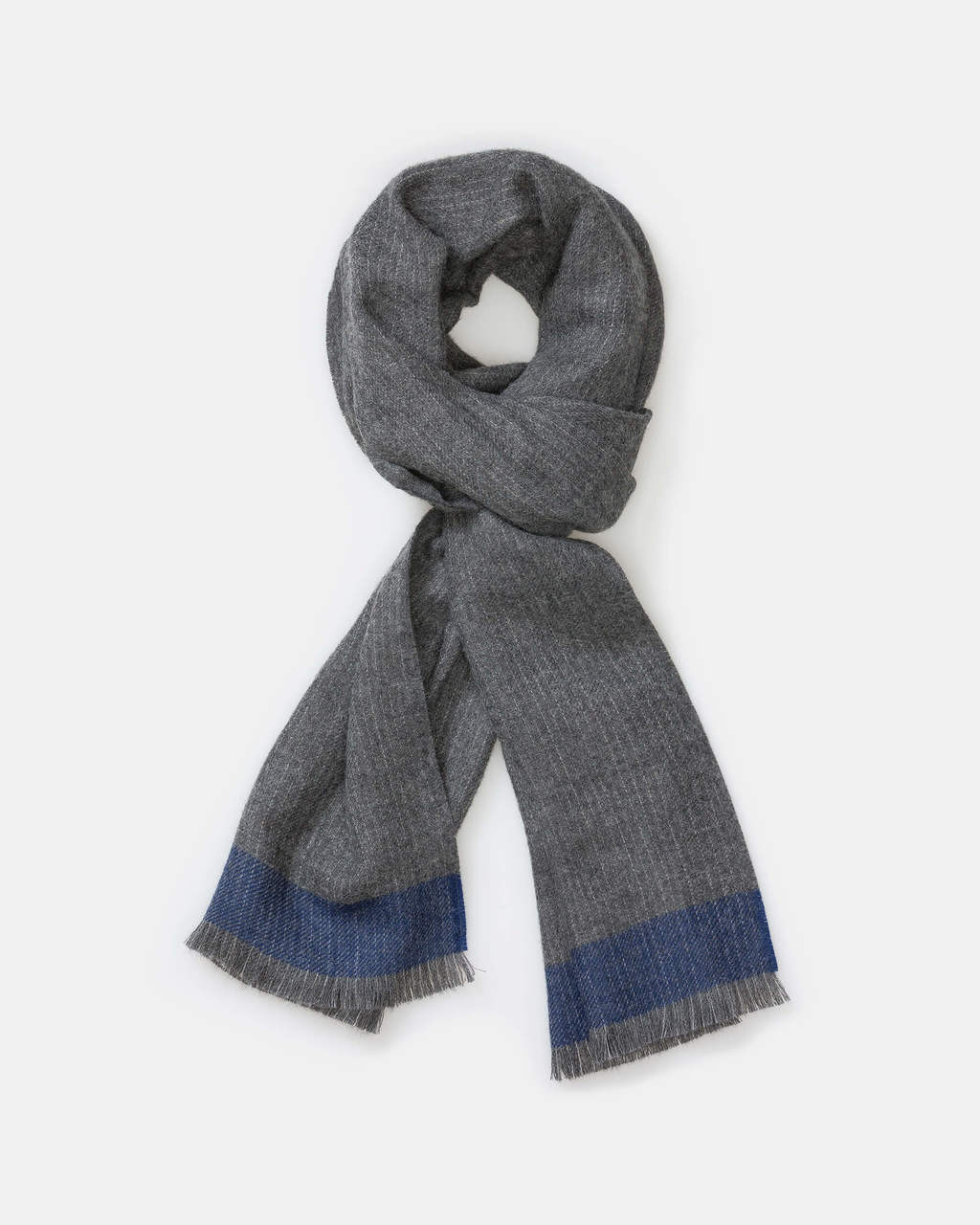 alicia adams alpaca empire scarf for him, mens alpaca scarf, alpaca scarf, fair trade made scarf, alpaca vs cashmere, grey and indigo blue alpaca scarf