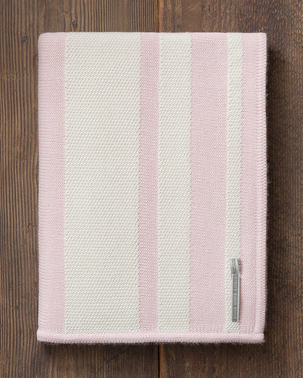 Alicia Adams Alpaca Malibu Throw, lightweight alpaca throw blanket, alpaca throw, alpaca vs cashmere, ivory and pink powder striped alpaca throw