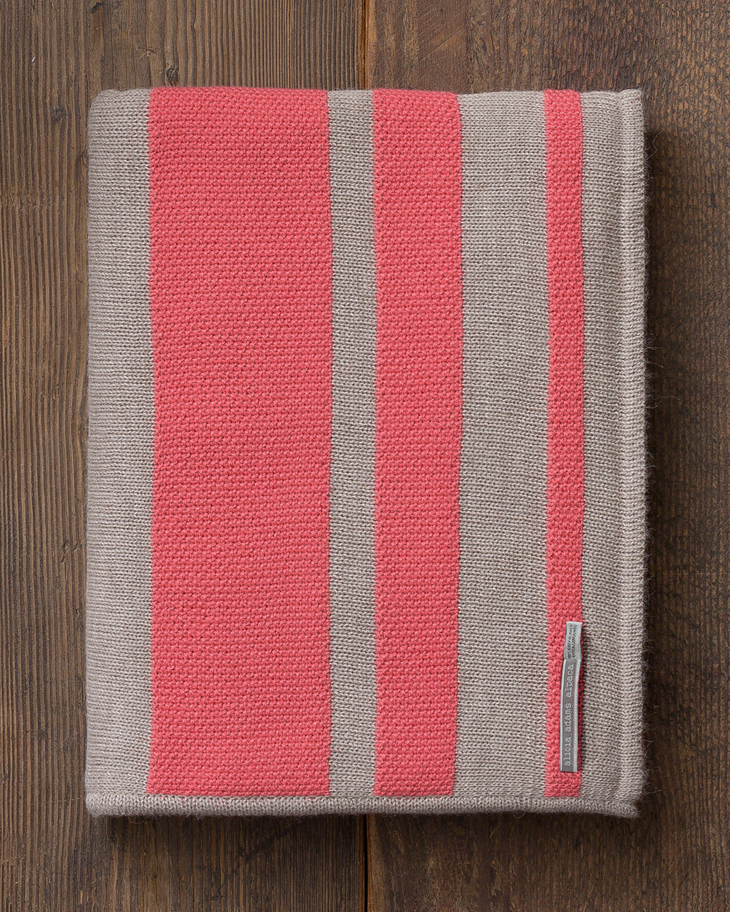 Alicia Adams Alpaca Malibu Throw, lightweight alpaca throw blanket, alpaca throw, alpaca vs cashmere, coral and light taupe striped alpaca throw