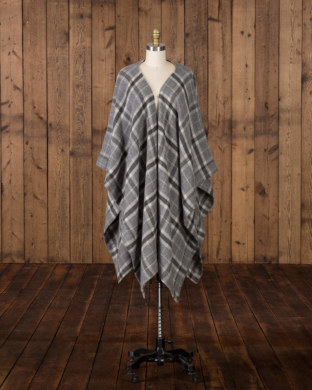Alicia Adams Alpaca Aberdeen alpaca cape, alpaca cape, women's plaid alpaca cape, plaid alpaca poncho, dark grey and charcoal plaid Baby Alpaca Cape