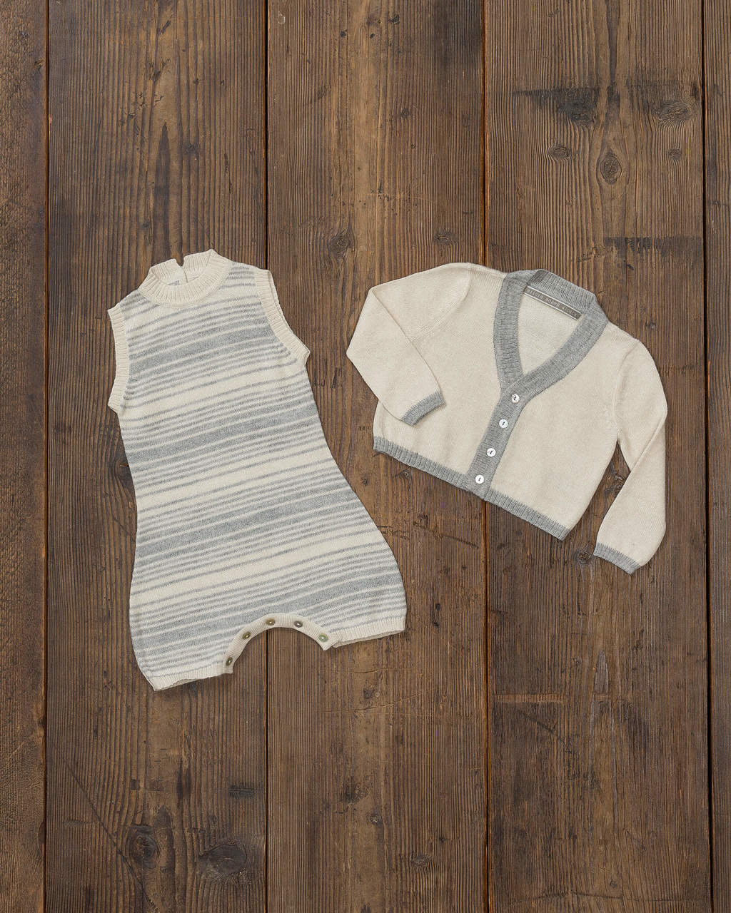 Alicia Adams Alpaca Samie Onesie and Cardigan set, ultimate gift for baby and mommy, baby alpaca onesie, light grey and ivory baby alpaca clothing set