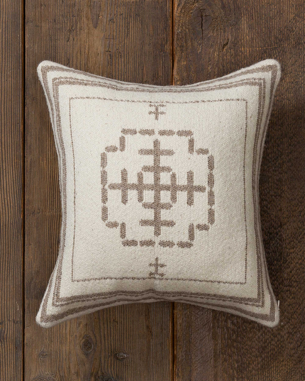 Alicia Adams Alpaca Mazing Accent Pillow, alpaca tribal pillow, alpaca indian pillow, alpaca bed pillow, ivory and taupe bicolor alpaca accent pillow