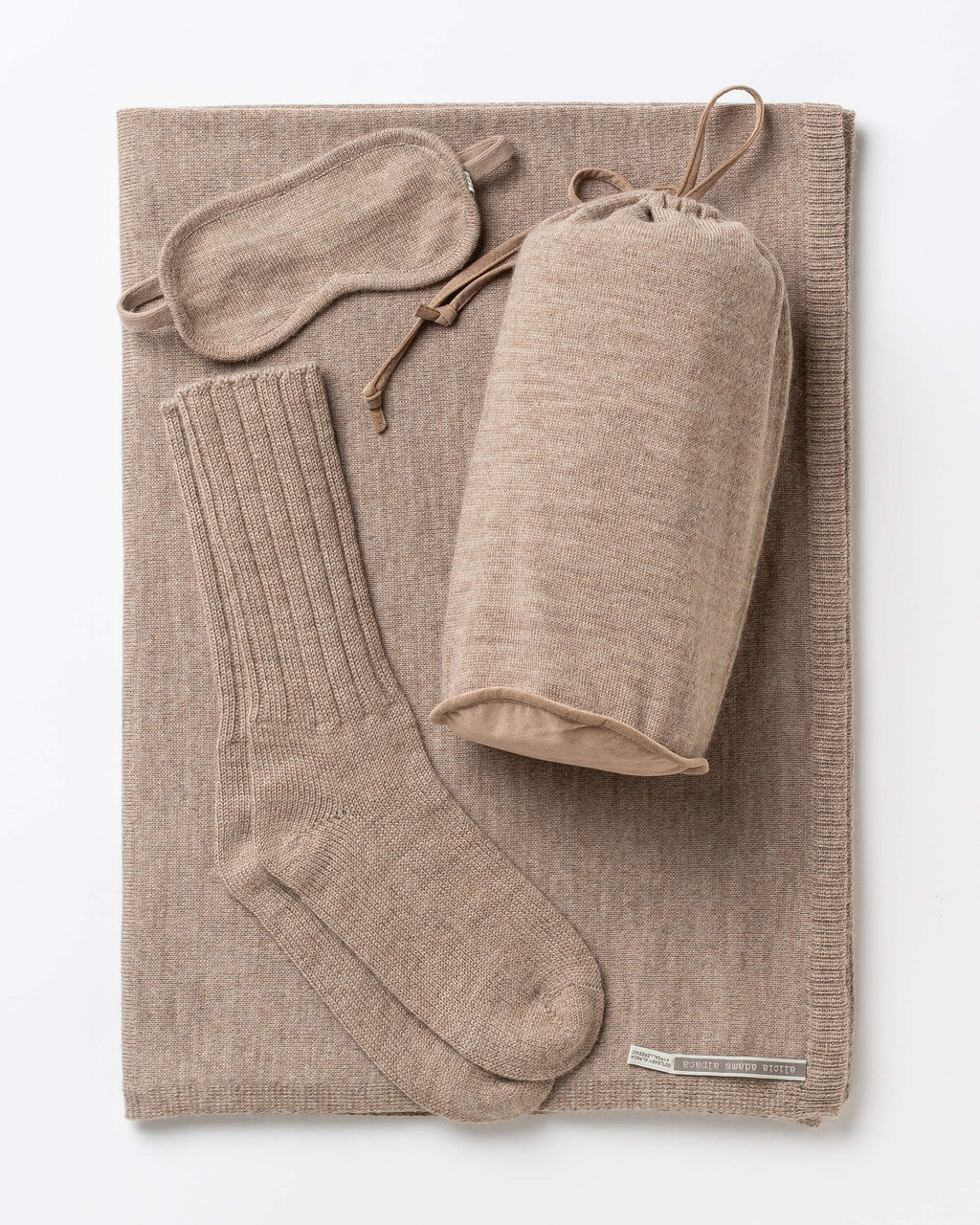 Alicia Adams Alpaca Globetrotter Travel Blanket Set, alpaca socks, alpaca travel blanket, travel kit with blanket and eyemask, light taupe plane travel set