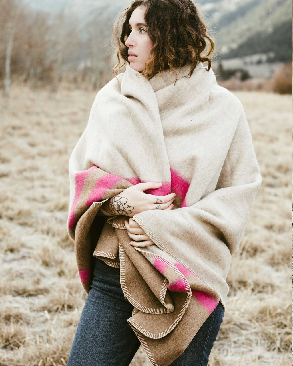 Alicia Adams Alpaca Aspen Cape, alpaca poncho cape for women, alpaca poncho womens, alpaca wrap, light taupe, tobacco and shocking pink alpaca cape
