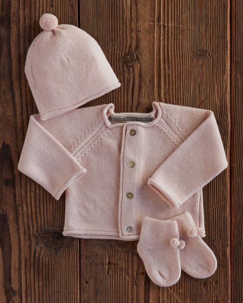 Alicia Adams Alpaca 100% Baby Alpaca Newborn Set, gift for mother, baby, newborn, baby shower gift, ultra-soft, luxurious, cozy, warm, knit, hat, booties, button sweater, pompom, cute, display all items, pink, Alpaca Fair Trade Handmade in Peru