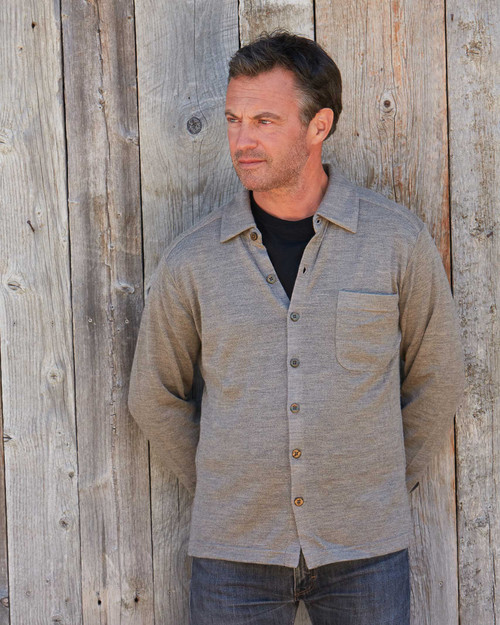 Alicia Adams Alpaca 100% Baby Alpaca Knit Button Down Shirt, gift for husband, father, man, gray, charcoal, blue, Alpaca Fair Trade Handmade in Peru, alpaca shirt for men, mens alpaca shirt in earth tan