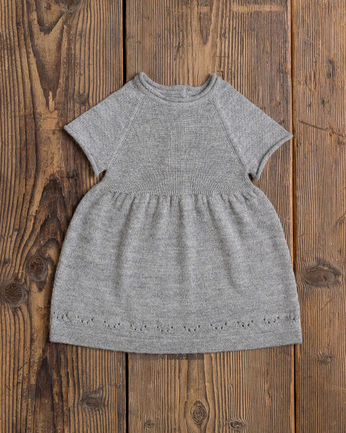 Alicia Adams Alpaca 100% Baby Alpaca Mila Dress, dress, baby dress, cute, toddler, newborn, gift for mother, baby shower gift, ultra-soft, cozy, warm, lightweight, grey, display, Alpaca Fair Trade Handmade in Peru