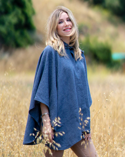 Alicia Adams Alpaca Mao Cape, alpaca poncho cape for women, alpaca poncho, alpaca clothing, alpaca cape, alpaca vs cashmere, denim blue alpaca cape