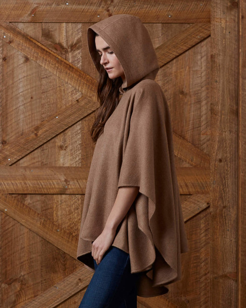 Alicia Adams Alpaca 100% Baby Mao Cape, ruana, shawl, wrap, stole, hooded poncho, gift for wife, mother, daughter, mother's day gift, taupe, beige, light brown, brown, warm, side, Alpaca Fair Trade Handmade in Peru