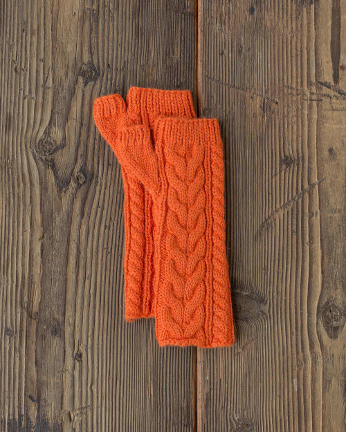 Alicia Adams Alpaca 100% Baby Alpaca Tribeca Handwarmers Gloves on Sale Clearance Blowout Cheap Closeout Alpaca Fair Trade Handmade in Peru  Firecracker Orange Cognac Brown