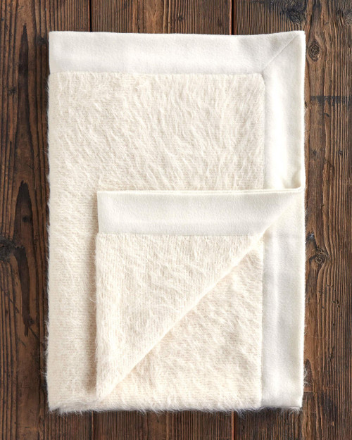 Alicia Adams Alpaca Shaggy Throw, blanket, boho, informal, acclaimed by Vogue, Southern Home, New York Times, in 100% baby alpaca soft color, all fair-trade made, softer than cashmere, Suri alpaca,  ivory