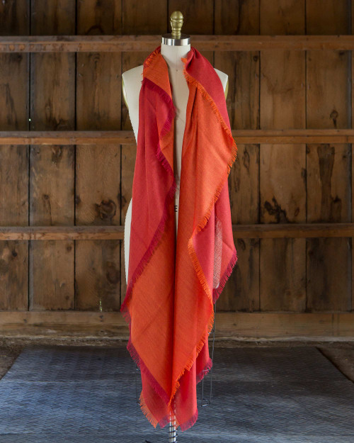 alicia adams alpaca harper wrap, womens alpaca wrap, womens summer weight alpaca wrap, large womens alpaca scarf, orange and red alpaca wrap, fair trade made alpaca wrap