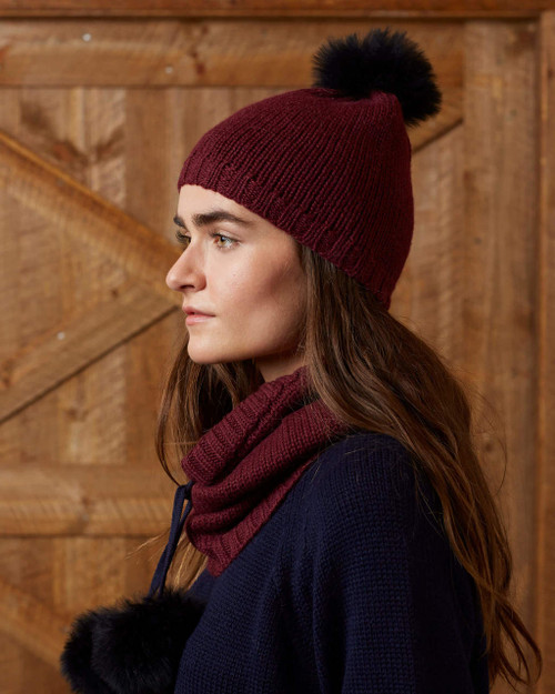 alicia adams alpaca 100% baby alpaca alpina beanie hat, womens luxury beanie hat with real fur trim, alpaca fur trimmed beanie hat, womens luxury alpaca beanie hat, real alpaca fur trimmed womens beanie hat, alpina accessories, real fur trimmed womens beanie hat, burgundy red womens alpina alpaca beanie hat, burgundy maroon red luxury alpaca beanie hat