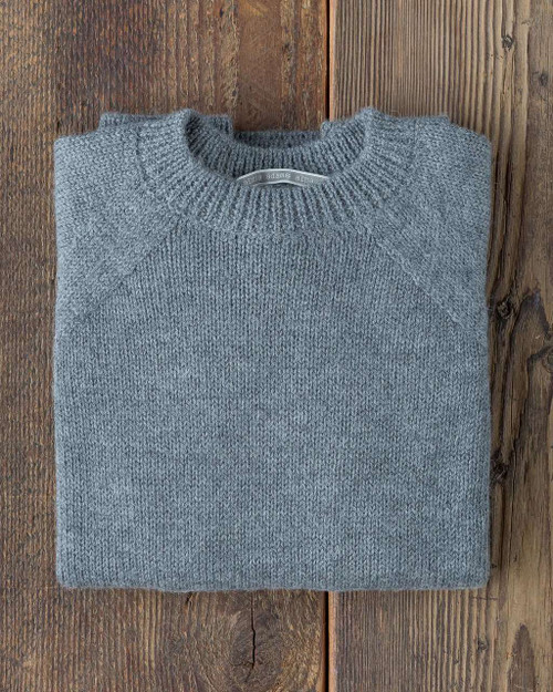 Alicia Adams Alpaca Mens Crew Neck Sweater, mens alpaca wool sweater, alpaca sweater mens, alpaca clothing, alpaca sweater, chambray blue alpaca crew sweater