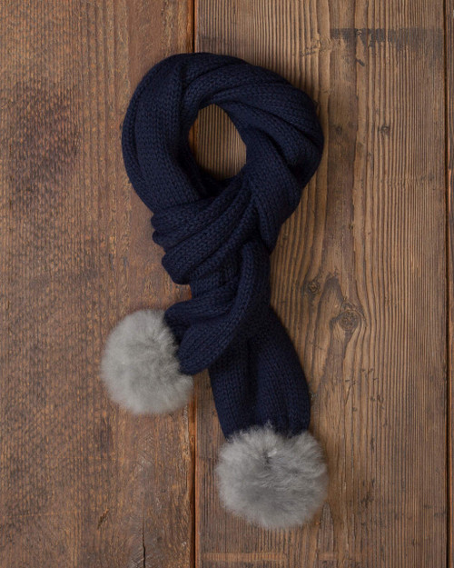 alicia adams alpaca 100% baby alpaca alpina scarf, womens luxury gloves with fur trim, alpaca fur trimmed gloves, womens luxury alpaca gloves, fur trimmed womens scarf, alpina accessories, fur trimmed womens scarf, navy blue grey womens alpina alpaca scarf, navy blue grey luxury alpaca scarf, gorski cashmere scarf with pompoms