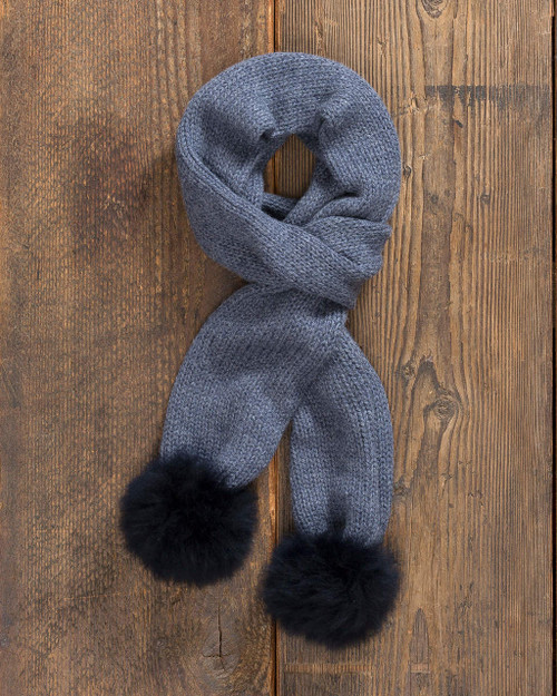 alicia adams alpaca 100% baby alpaca alpina scarf, womens luxury gloves with fur trim, alpaca fur trimmed gloves, womens luxury alpaca gloves, fur trimmed womens scarf, alpina accessories, denim chambray navy blue trimmed womens scarf, denim chambray navy blue womens alpina alpaca scarf, denim chambray navy blue luxury alpaca scarf, gorski cashmere scarf with pompoms