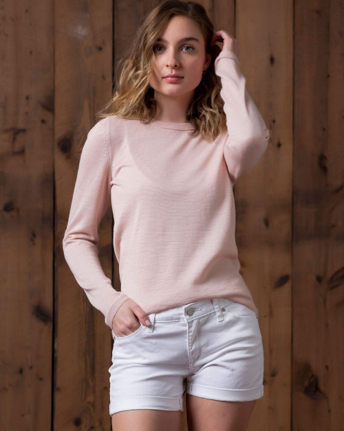 Alicia Adams Alpaca 100% Baby Alpaca Crew Neck Top, gift for her, 100% baby alpaca, pink womens alpaca sweater, light pink womens alpaca top, luxury alpaca sweater , luxury alpaca top, luxury alpaca blouse, sustainable, softer than cashmere, Alpaca Fair Trade Handmade in Peru