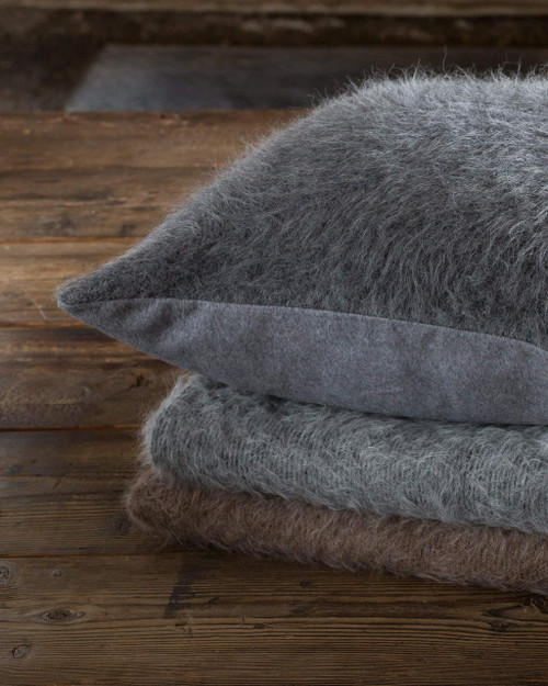 Alicia Adams Alpaca Shaggy Pillow, baby alpaca sham pillow, luxury alpaca bedding, acclaimed by Vogue, Southern Home, New York Times, in 100% baby alpaca soft color, all fair-trade made, sustainable, softer than cashmere, Suri alpaca, furry, fuzzy, light grey/charcoal