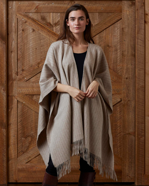 alicia adams alpaca pinstripe cape, beige pinstripe cloak, 100% alpaca, 100 baby alpaca, alpaca pinstripe ruana, striped  luxury alpaca poncho, beige alpaca poncho, beige alpaca cape, luxury alpaca poncho, luxury alpaca cape, alpaca cape made in peru, free trade alpaca poncho
