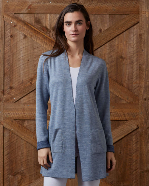 alicia adams alpaca women's reversible cardigan, 100 alpaca cardigan, alpaca sweater, alpaca coat, alpaca vs cashmere, chambray and denim blue alpaca cardigan