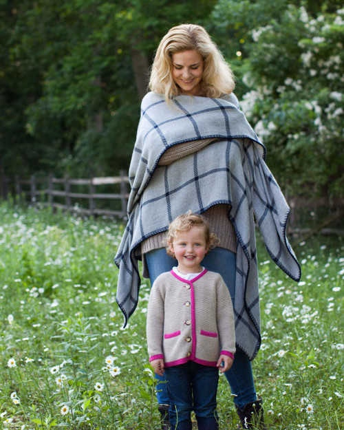 Alica Adams Alpaca Graydon Blanket Cape, alpaca poncho cape for women, alpaca poncho womens, alpaca wrap, chambray and denim blue alpaca cape