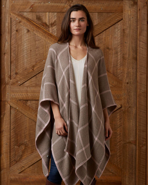 Alica Adams Alpaca Graydon Blanket Cape, alpaca poncho cape for women, alpaca poncho womens, alpaca wrap, light taupe and light pink alpaca cape