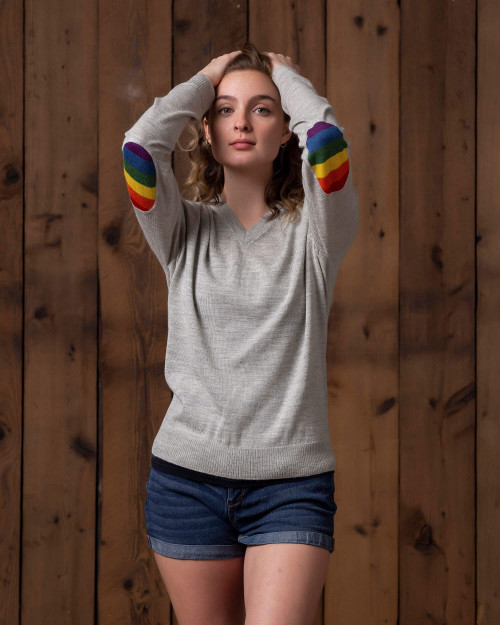 Alicia Adams Alpaca Rainbow Sweater for Women, pride gift, alpaca v neck sweater, alpaca sweater for women, pearl grey rainbow alpaca sweater